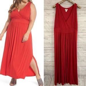 Caslon cherry red knit maxi dress slit v-neck